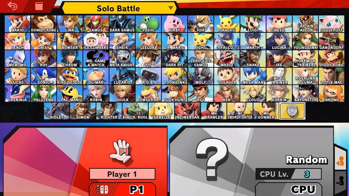 """Résultat de recherche d'images pour """"smash bros ultimate roster nintendo"""""""
