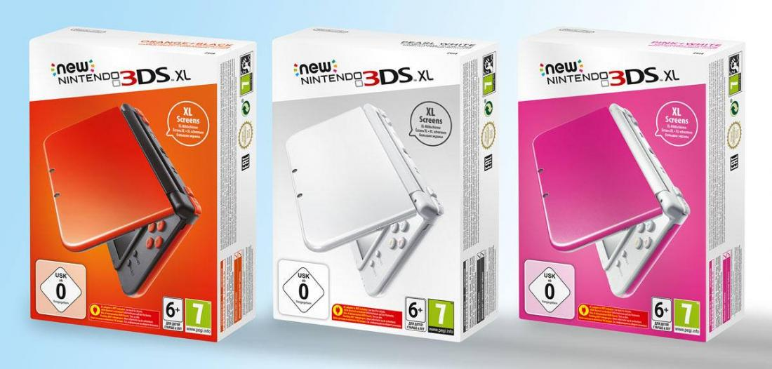 orange blanc ou rose la new 3ds xl reprend des couleurs g n ration nintendo. Black Bedroom Furniture Sets. Home Design Ideas